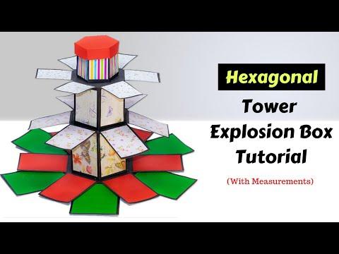 Hexagonal Tower Explosion Box Tutorial - Giant Birthday Surprise Idea