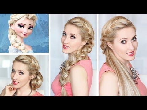 Праздничная/вечерняя/свадебная причёска в стиле Эльзы, Холодное Сердце: французская коса