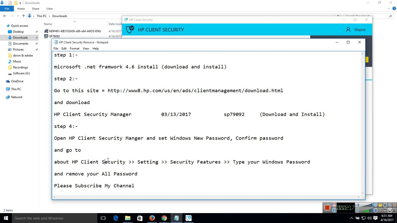 hp password manager enable