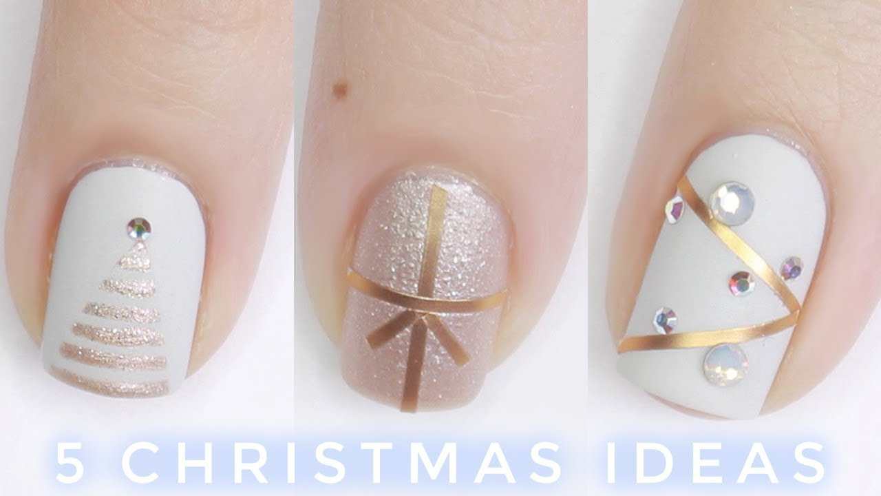 5 Easy Christmas Nail Ideas Youtube