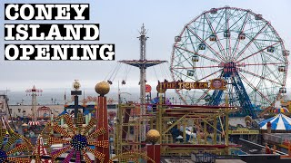 NYC LIVE Coney Island Amusements Opening Day April 9, 2021 Wonder Wheel & Cyclone Roller Coaster