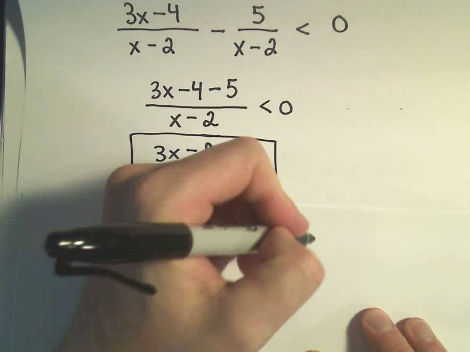 how to solve rational inequalities with two fractions