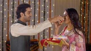 Newly wed couple celebrating their first Karwa Chauth together - Indian festival