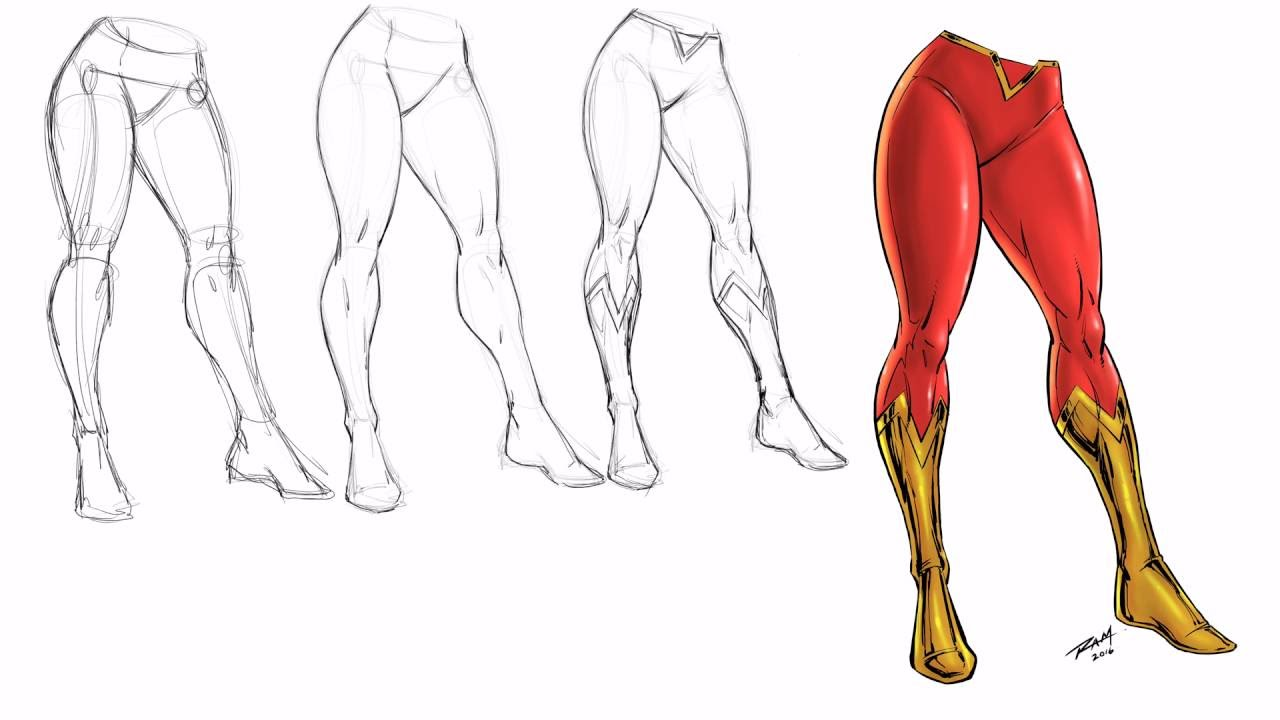 Drawing Super Woman Legs - Step by Step - - YouTube
