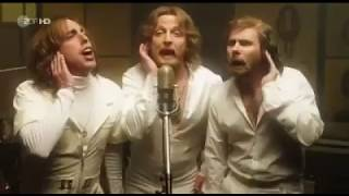 slide 3 - Bee Gees - Stayin' Alive parody. Sound recording in studio