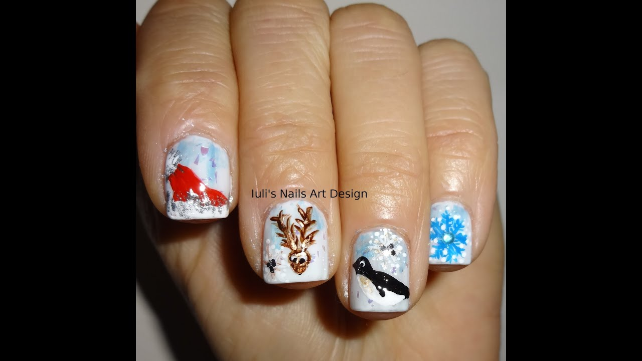 Nail Art Design Winter Theme Manicure Reindeer Santa Hat