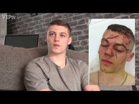 VIPtv visit Luke Evans after his knife attack in Eccles last month