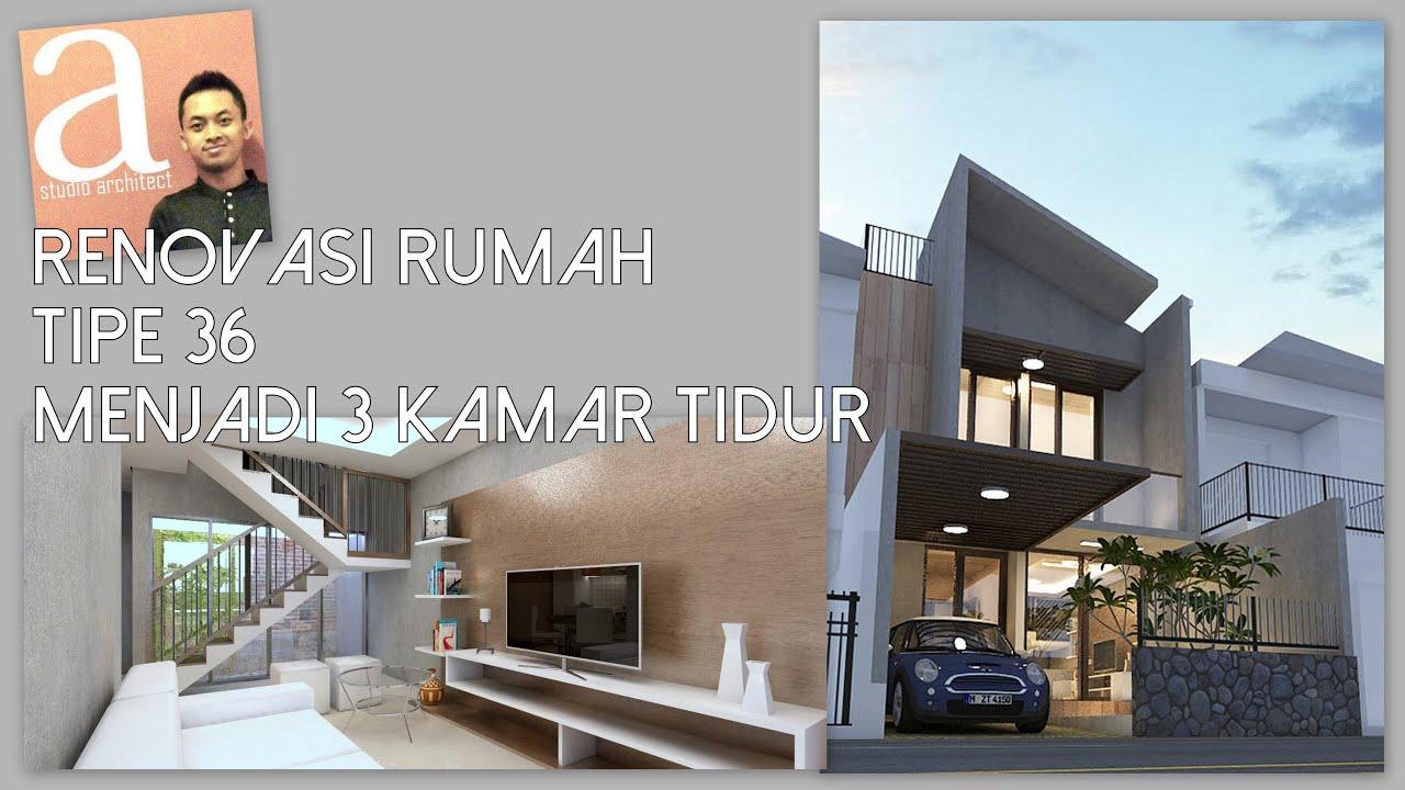 Desain renovasi rumah tipe 36 menjadi 3 kamar - YouTube