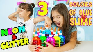 3 COLORS OF GLUE SLIME CHALLENGE with NEON and GLITTER GLUE ONLY! Who can make a giant slime bubble?