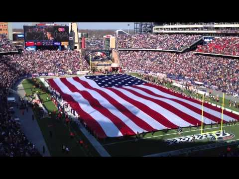 American flag and C-5 military flyover at Gillette Stadium