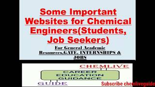 SOME IMPORTANT WEBSITES FOR CHEMICAL ENGINEERS