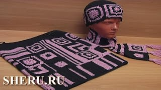 Юбка, шарф и шапка в технике пэчворк Урок 27 часть 1 из 8 Crochet Patchwork Set for Women