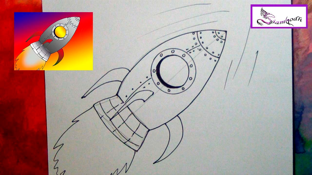 Como dibujar un Cohete Espacial tutorial Dibujo Fácil para niños ...