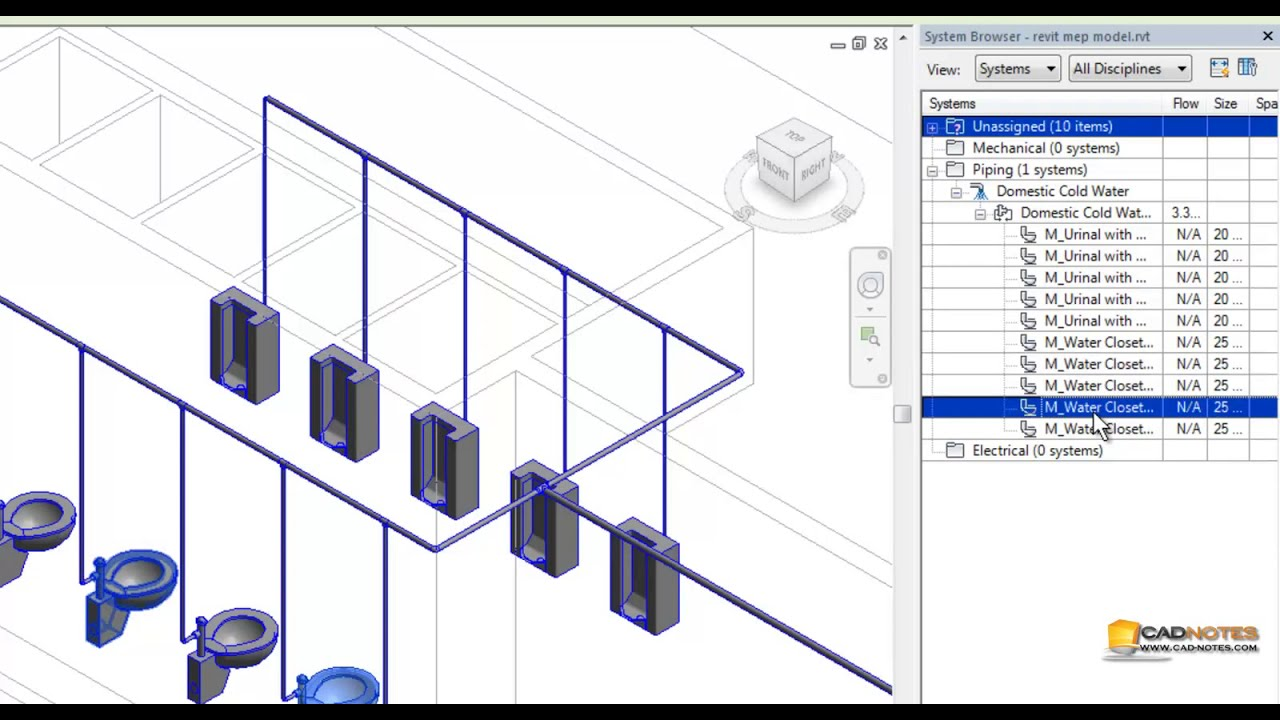 Revit MEP tutorial: Connecting Plumbing Fixture to Pipe Route | CADnotes