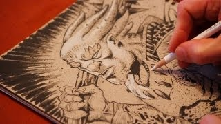 Fantasy art warrior brush & ink and white pencil timelapse drawing