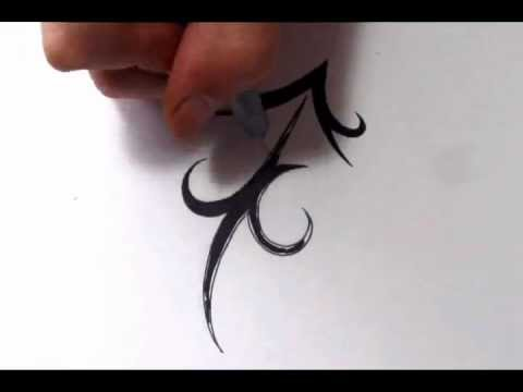 Sagittarius Tattoos How To Draw A Simple Tribal Star Sign Youtube