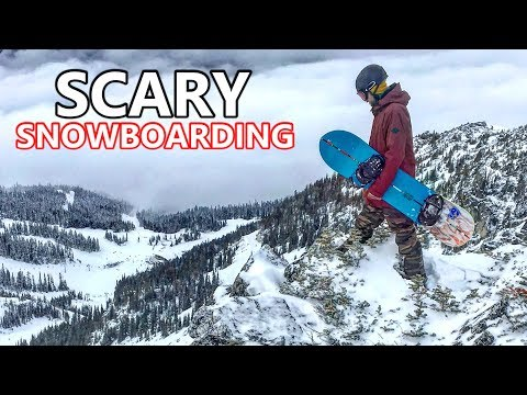 REALLY SCARY SNOWBOARDING (DRONE STYLE)