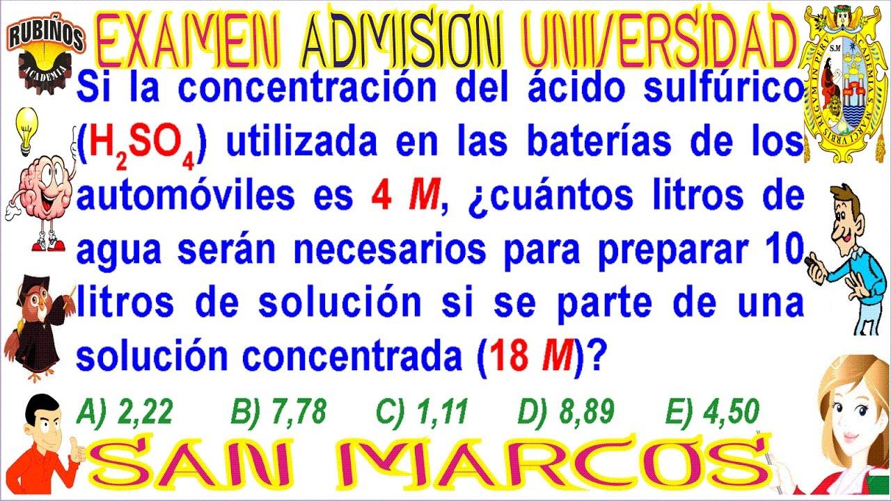 Examen San Marcos DECO admisión universidad química UNMSM 2018 ...
