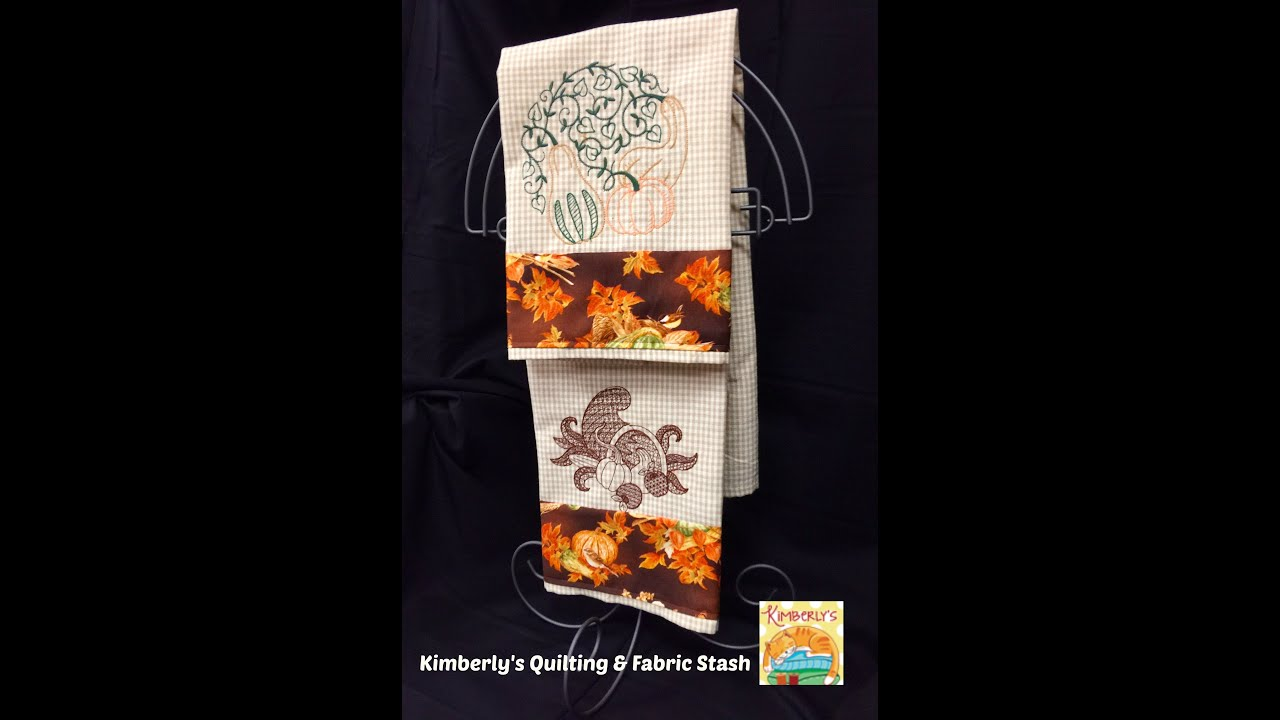 Fall towels hostess gift machine embroidery youtube