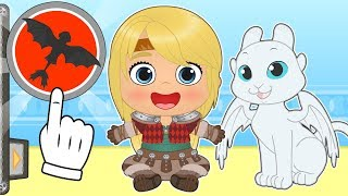 BABY ALEX AND LILY Kira and Lily Dress up as Astrid and Light Fury 💥 Cartoons for Kids