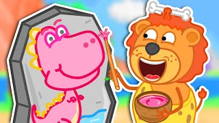 Lion Family | Jurassic World №7. Dinosaur Makes Colorful Paints | Cartoon for Kids
