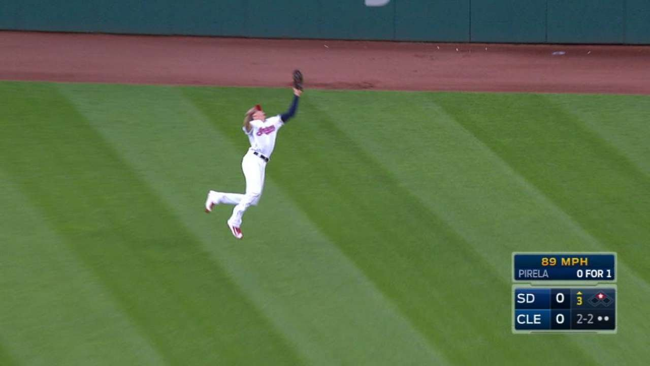 SD@CLE: Zimmer leaps, takes away a hit from Pirela