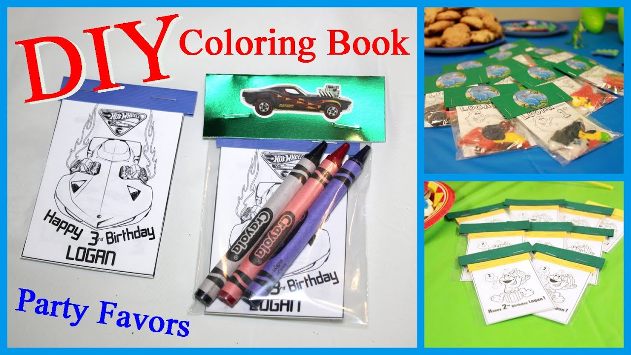 DIY Coloring Book Party Favors