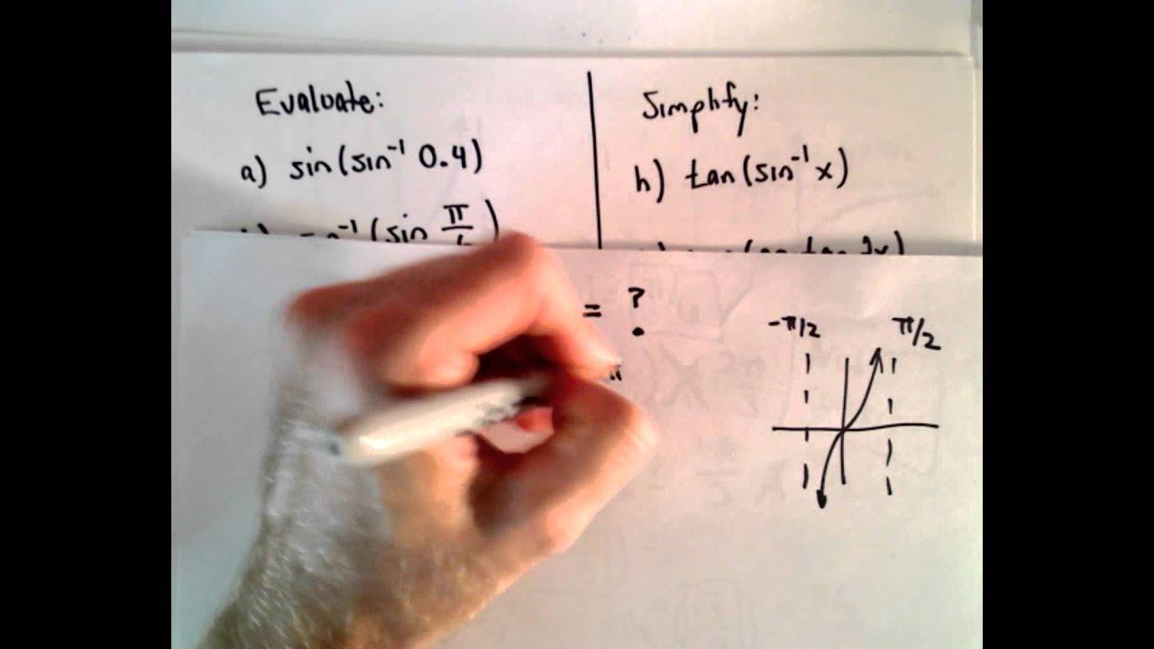 Workbooks inverse trigonometric functions problems worksheets : Inverse Trigonometric Functions , Part 2 ( Evaluating Inverse Trig ...