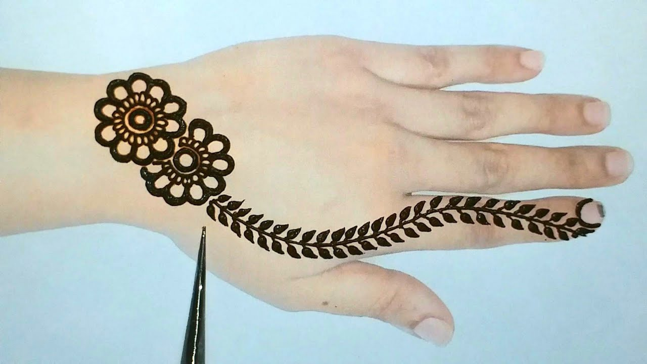 back hand mehandi design simple and easy