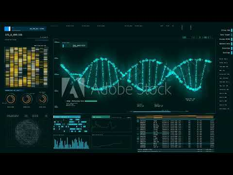 Blue DNA strand rotating on screen, forensic DNA analysis, genetic engineering  DNA molecules analys