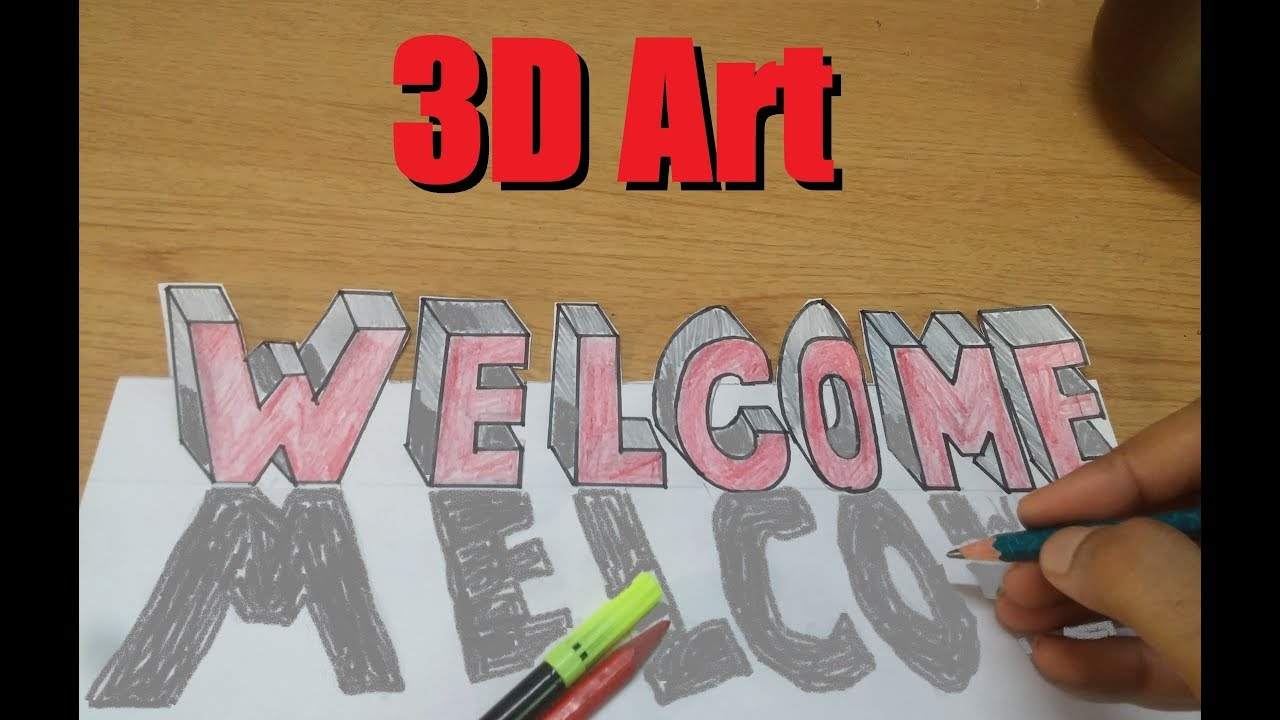 How to make 3d word welcome 3d words making tutorial learn 3d art