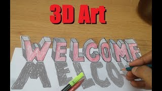 How to Make 3D Word WELCOME | 3D Words Making Tutorial | Learn 3D Art