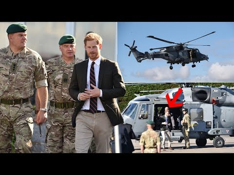 Prince Harry makes dramatic entrance to meet Royal Marines recruits as Captain General