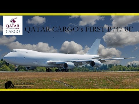 Thumbnail: HOT!Qatar Cargo's First B747-8 all white freighter climbs STEEP on ferry PAE to PDX for paint