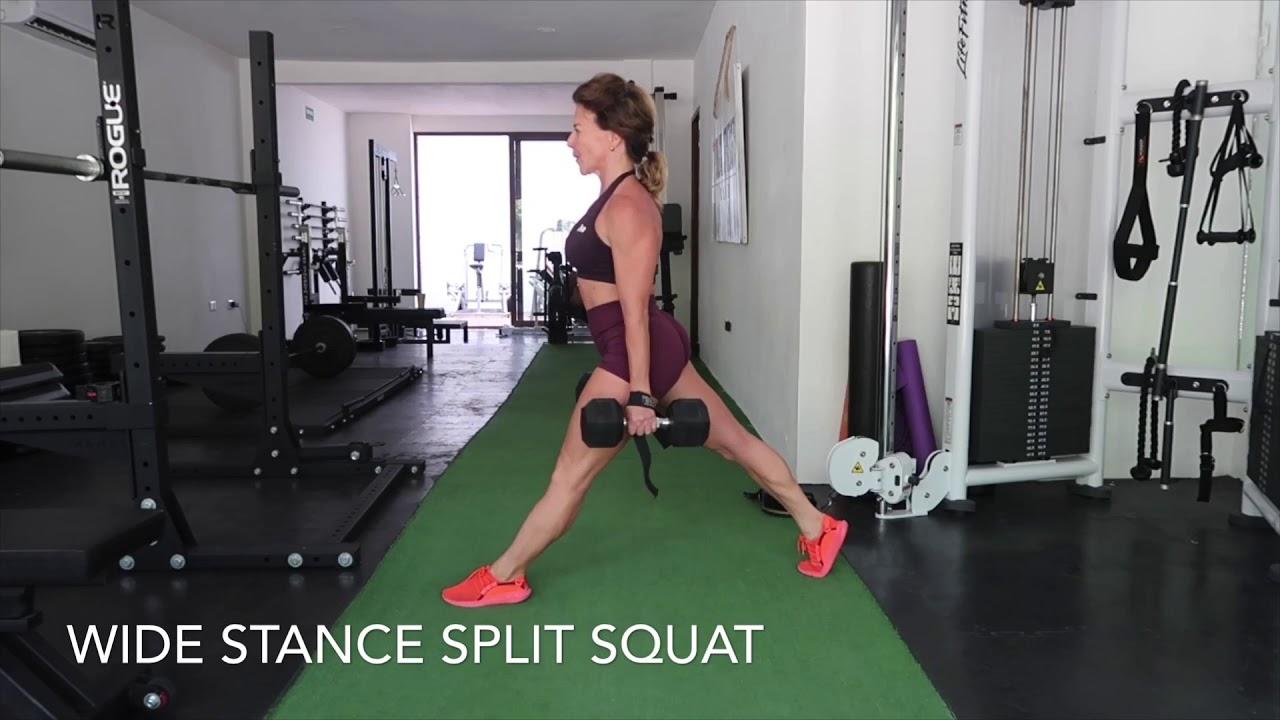 Wide stride bulgarian split squat