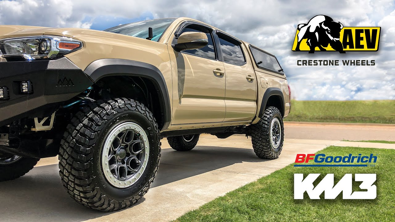 "AEV Crestone Wheels & 34"" BFG KM3 Tires Install on my Tacoma!"