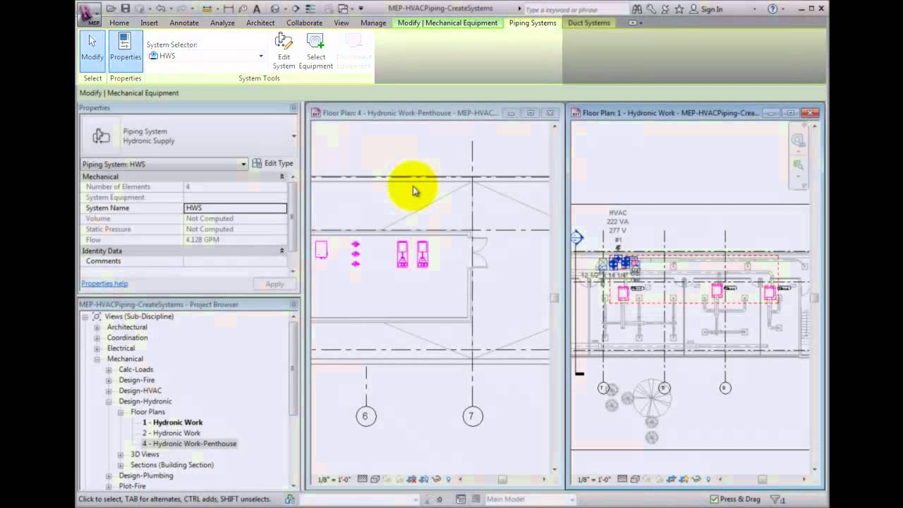 Revit MEP 2012 Tutorial - Creating HVAC Piping Named Systems