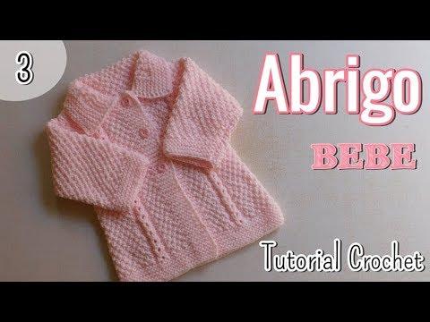 Ajuar abrigo saquito para bebe a dos agujas palitos 3 3 youtube - Tejer chaqueta bebe 6 meses ...