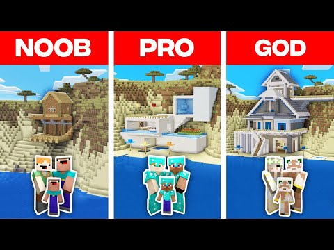 Minecraft NOOB vs PRO vs GOD: FAMILY BEACH HOUSE BUILD CHALLENGE in Minecraft! (Animation)