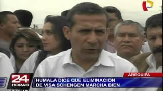 """Ollanta Humala: """"Todo está marchando bien"""" con eliminación de visa Schengen"""