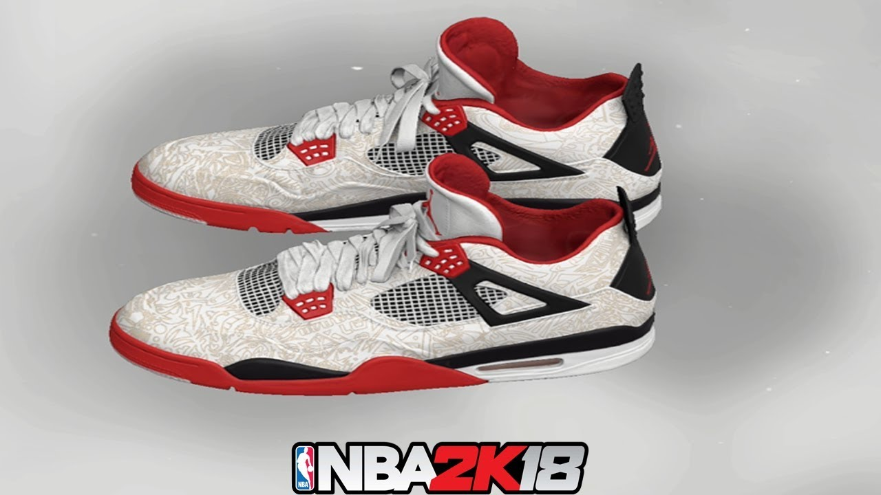 160db883e7e0a3 NBA 2K18 Shoe Creator ⋆ NBA2K18⋆ Jordan 4 Laser White   Red   Black
