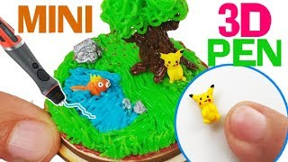 TINIEST 3D PEN CHALLENGE POKEMON ENVIRONMENT how to make miniature pokemon polymer clay diy craft