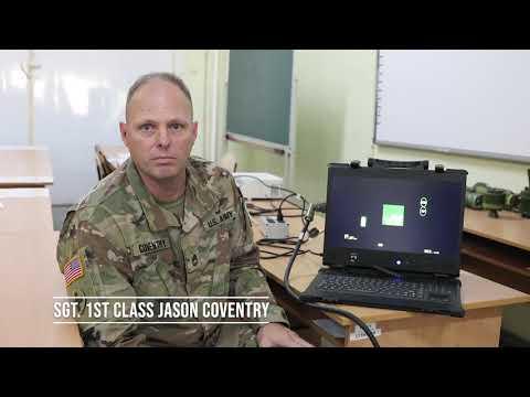 Task Force Illini Javelin certify Ukrainian Army Observer Coach/Trainers team simulator testing