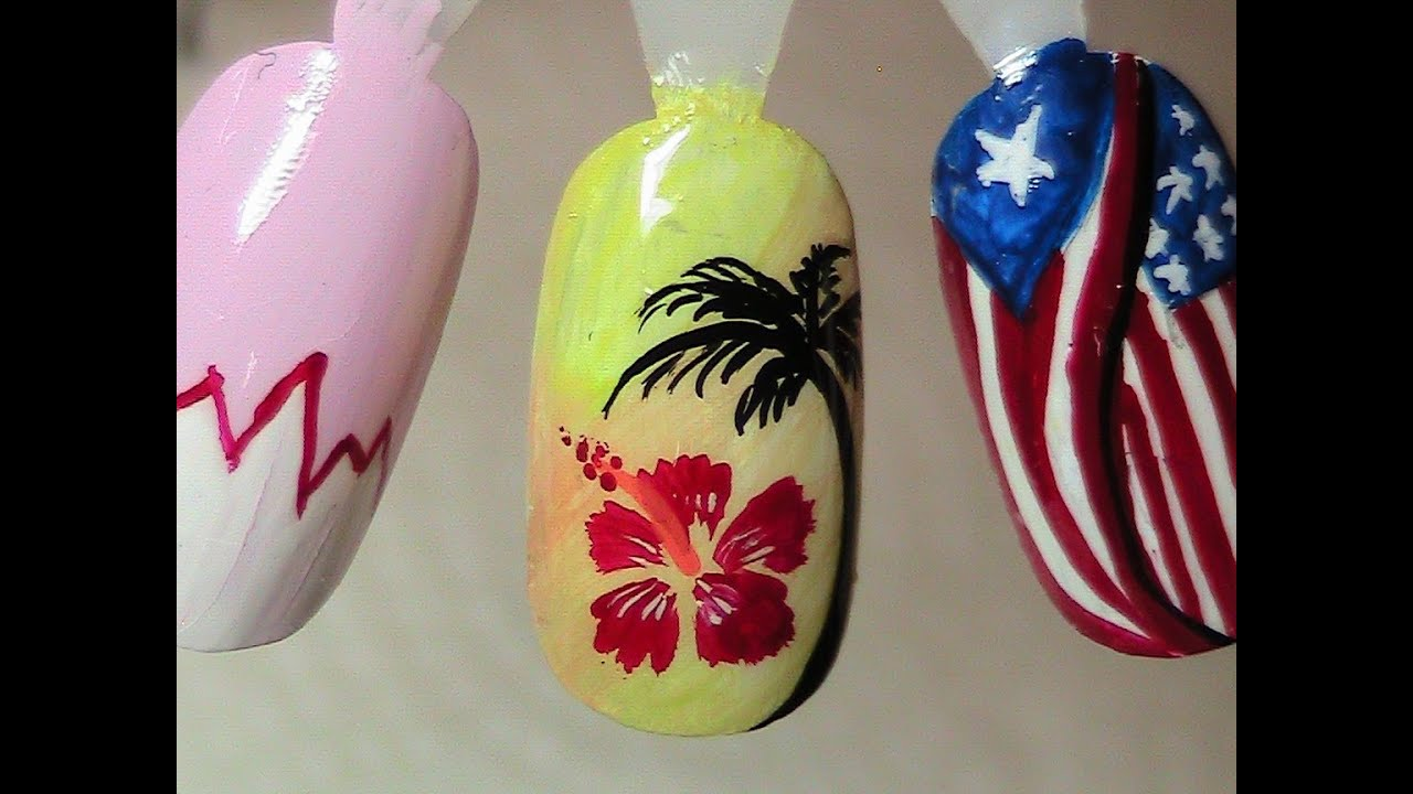 Tropical nail design hibiscus flower and palm tree youtube prinsesfo Gallery