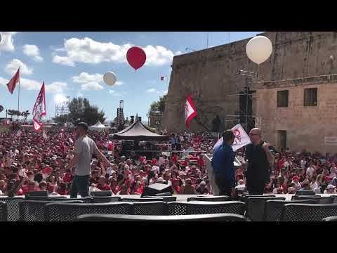 Labour supporters celebrate in Valletta ahead of mass meeting