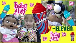 BABY ALIVE gets a SLURPEE! The Lilly and Mommy Show! Surprise DIAPER change!