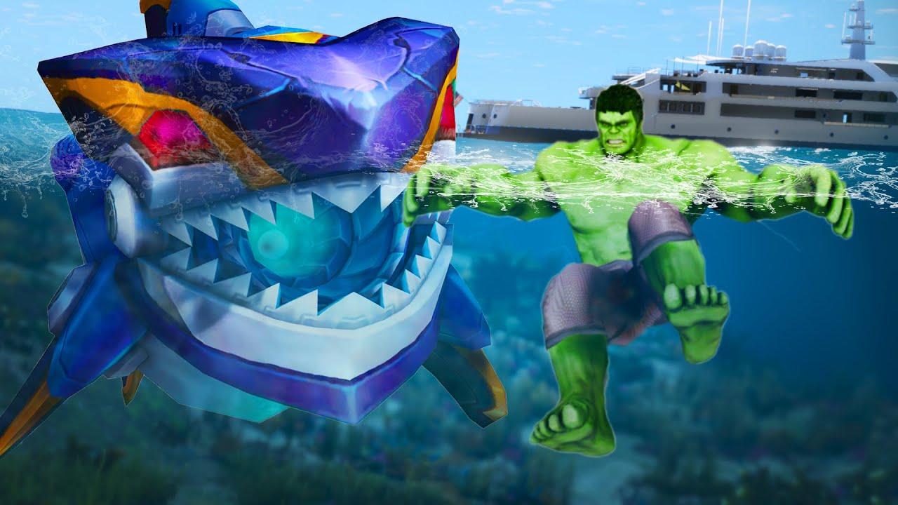 Download GTA 5 - Hulk FOUND Mecha Megalodon - Megalodon Robot Attack City