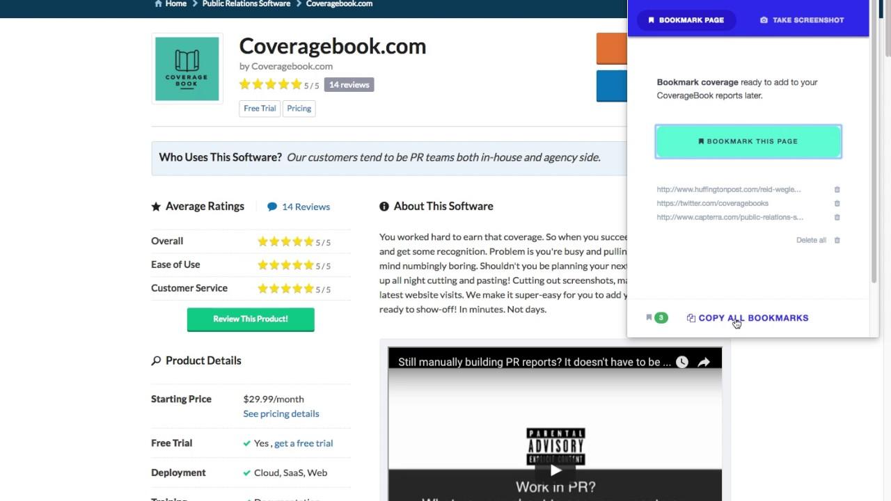 CoverageBook.com Bookmarking Chrome extension demo