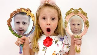 Nastya and magical mirrors changing faces