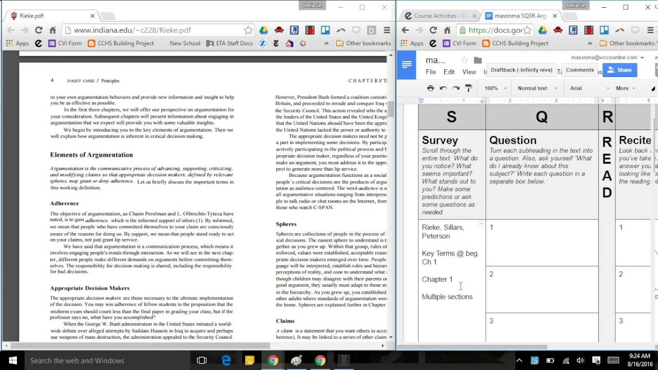Critical Reading Strategy: SQ3R & Google Docs Graphic